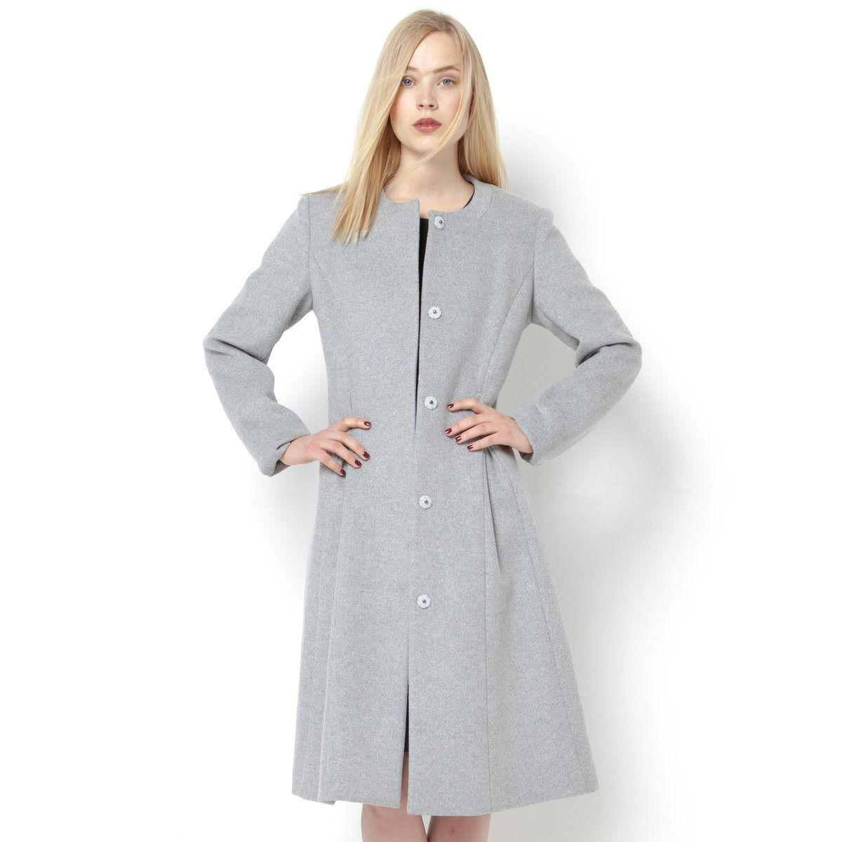 Pale grey 50% wool fitted overcoat