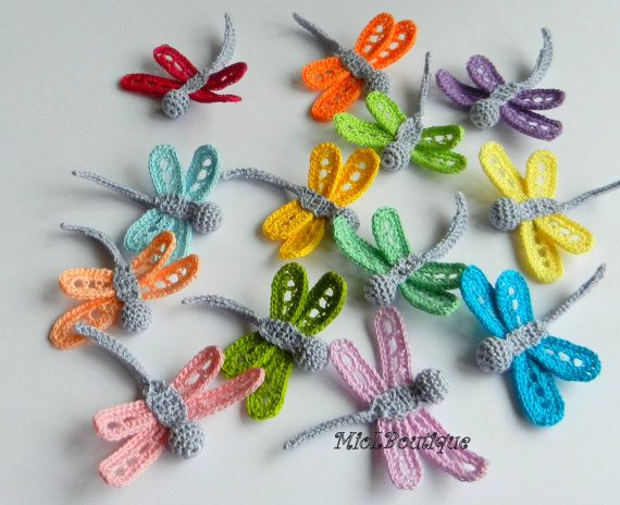 Crochet dragonfly Set of 5 Crochet applique by MioLBoutique