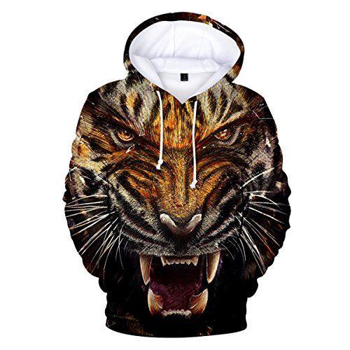 CTOOO 2018 Sweats à Capuche Tigre Homme Mode XXS-3XL   Sweat Tigre ... 4103f341705