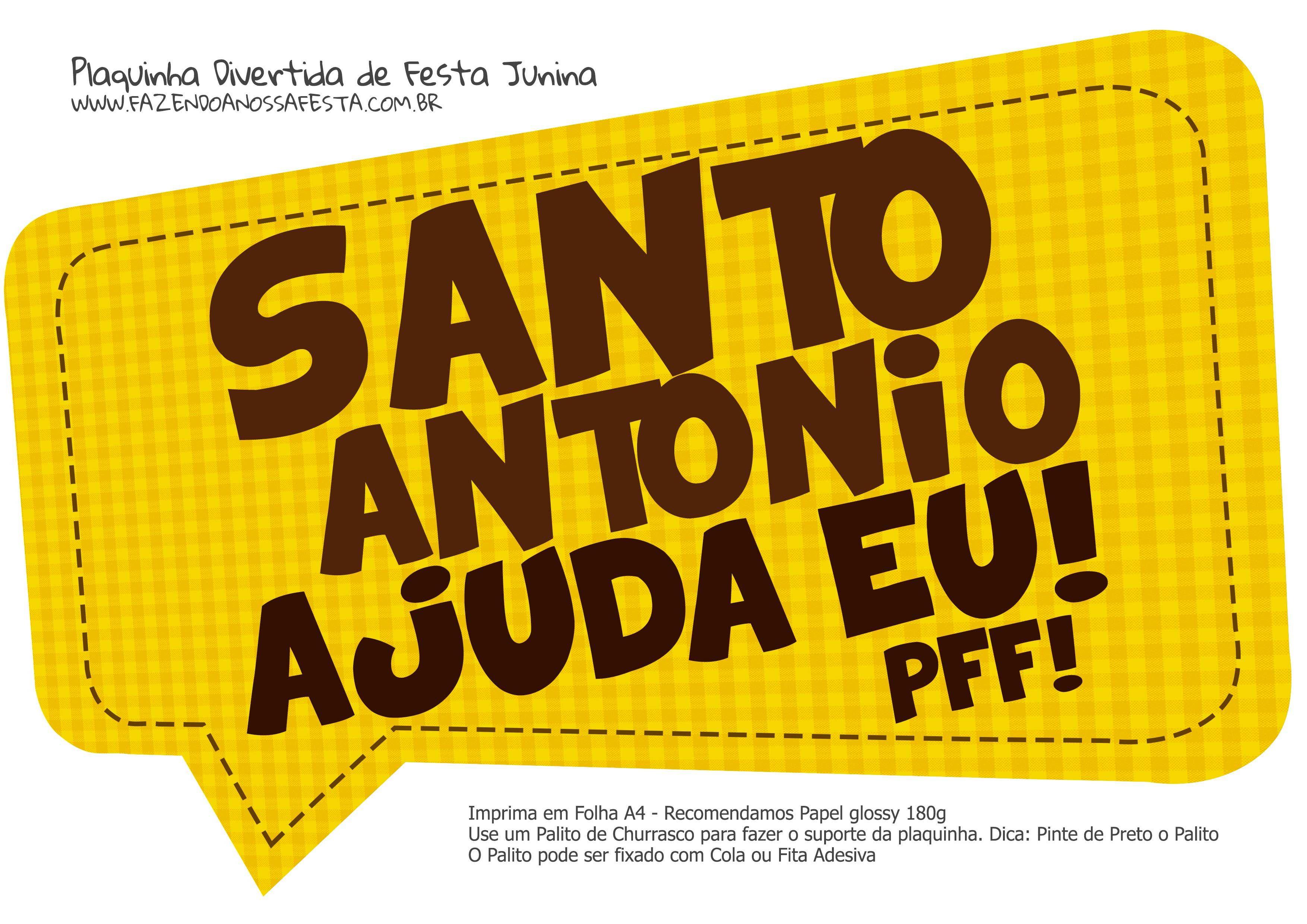 Plaquinha Divertida Festa Junina Santo Antonio Plaquinhas