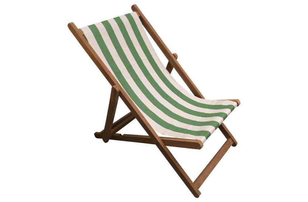 Green And White Stripe Deckchairs Folding Wooden Deck Chairs Pole Vault