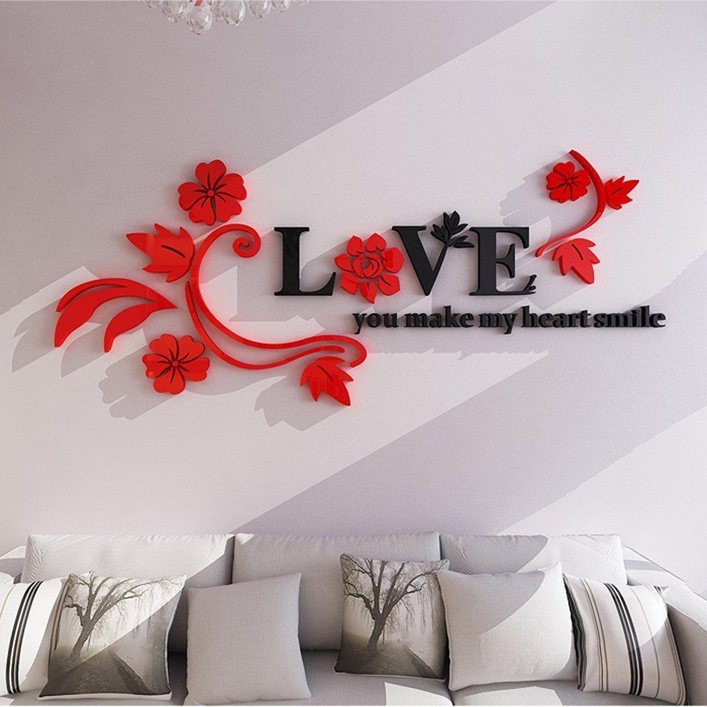 Акрил Съемный Любовь цветок стены винила Стикеры дома ...