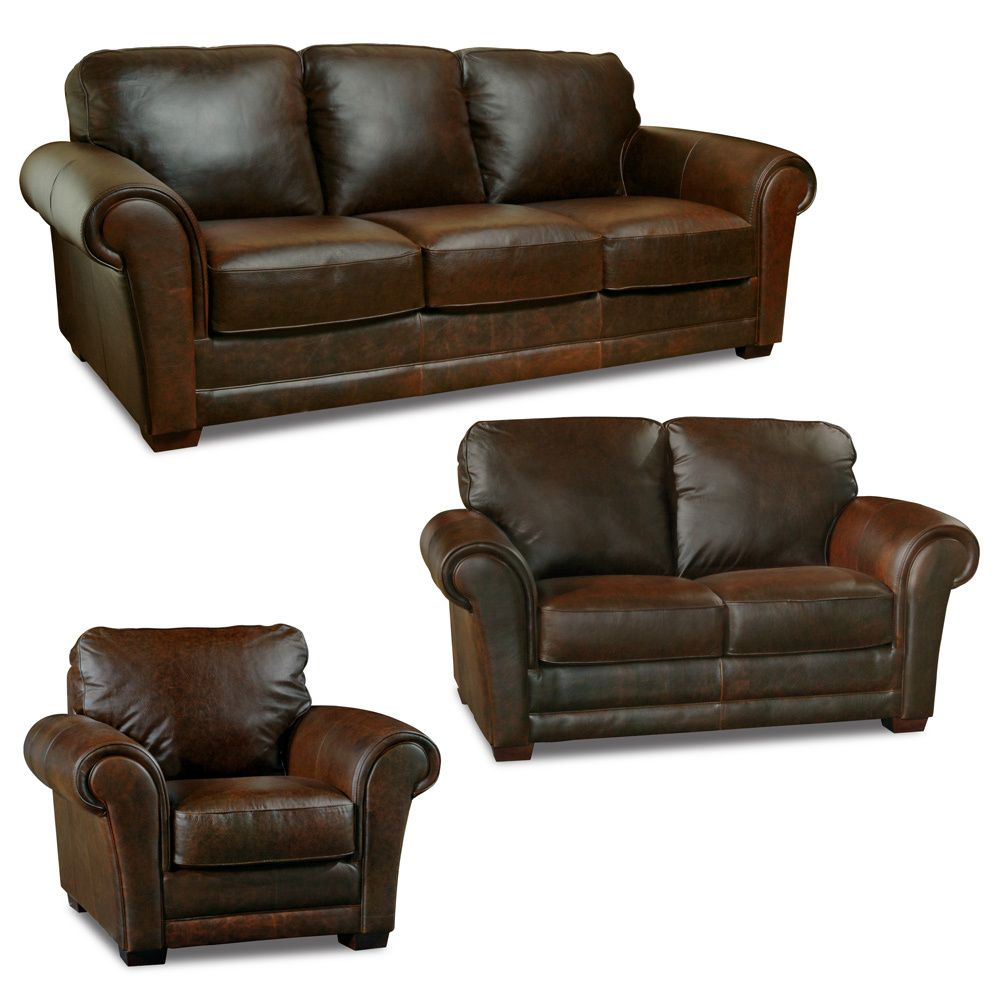 Whiskey piece living room leather sofa set overstock