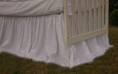 Natural Linen Crib Skirt Drop From 15 24 In White Etsy Blue Crib Baby Blue Crib Bedding Crib Dust Ruffles