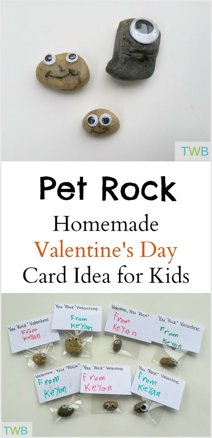Homemade Valentine Cards for Kids - Pet Rock | Homemade valentine ...