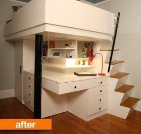 neat stair idea. The angled stair stringer allows bigger treads in a small run.