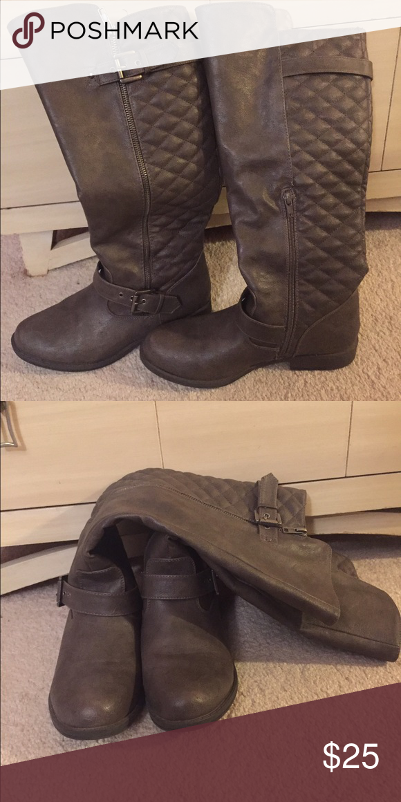 Brown Riding Boots Super cute with quilting in the back. Not worn much, so they're in good shape! Shoes Winter & Rain Boots