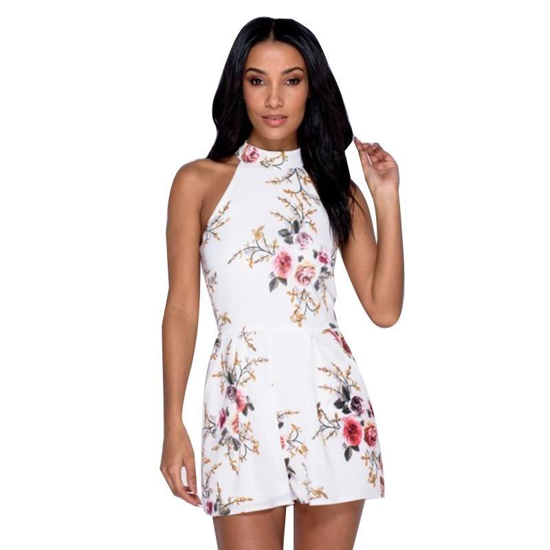 4694fd031e ELSVIOS 2018 Sexy V Neck Ruffles Women Rompers Playsuit Summer Floral Pint  Elegant Jumpsuits Casual Beach Overalls Belt XS-3XL