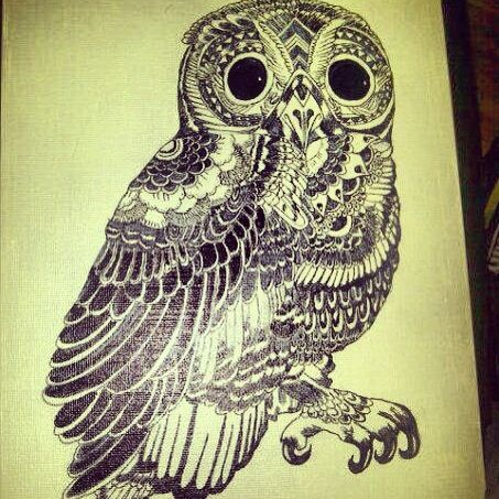 Photo of Owl drawing with sharpie marker