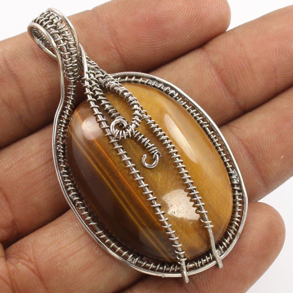 Vintage Art 925 Sterling Silver Pendant Natural TIGER'S EYE Gemstone ! Best Gift #Unbranded #Pendant