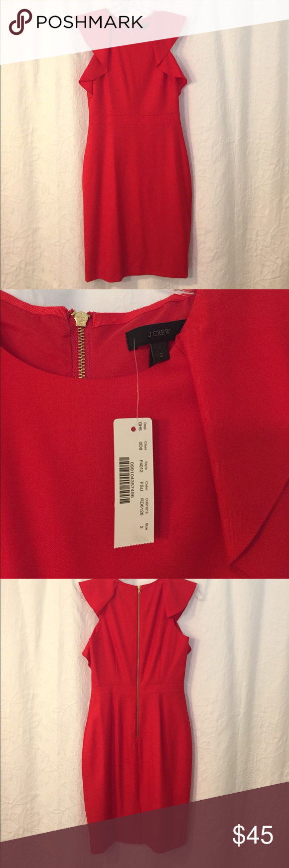 J. Crew Monday Dress Super 120's Wool Red size 2 Beautiful bright red sleeveless flutter sleeve dress from J Crew. Size 2, Brand New With Tags! Never worn, this is a beautiful dress but not my color. J. Crew Dresses