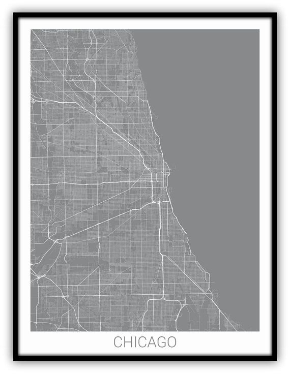 Map If Chicago Chicago, Chicago Map, Chicago Illinois Map, Chicago Map Print