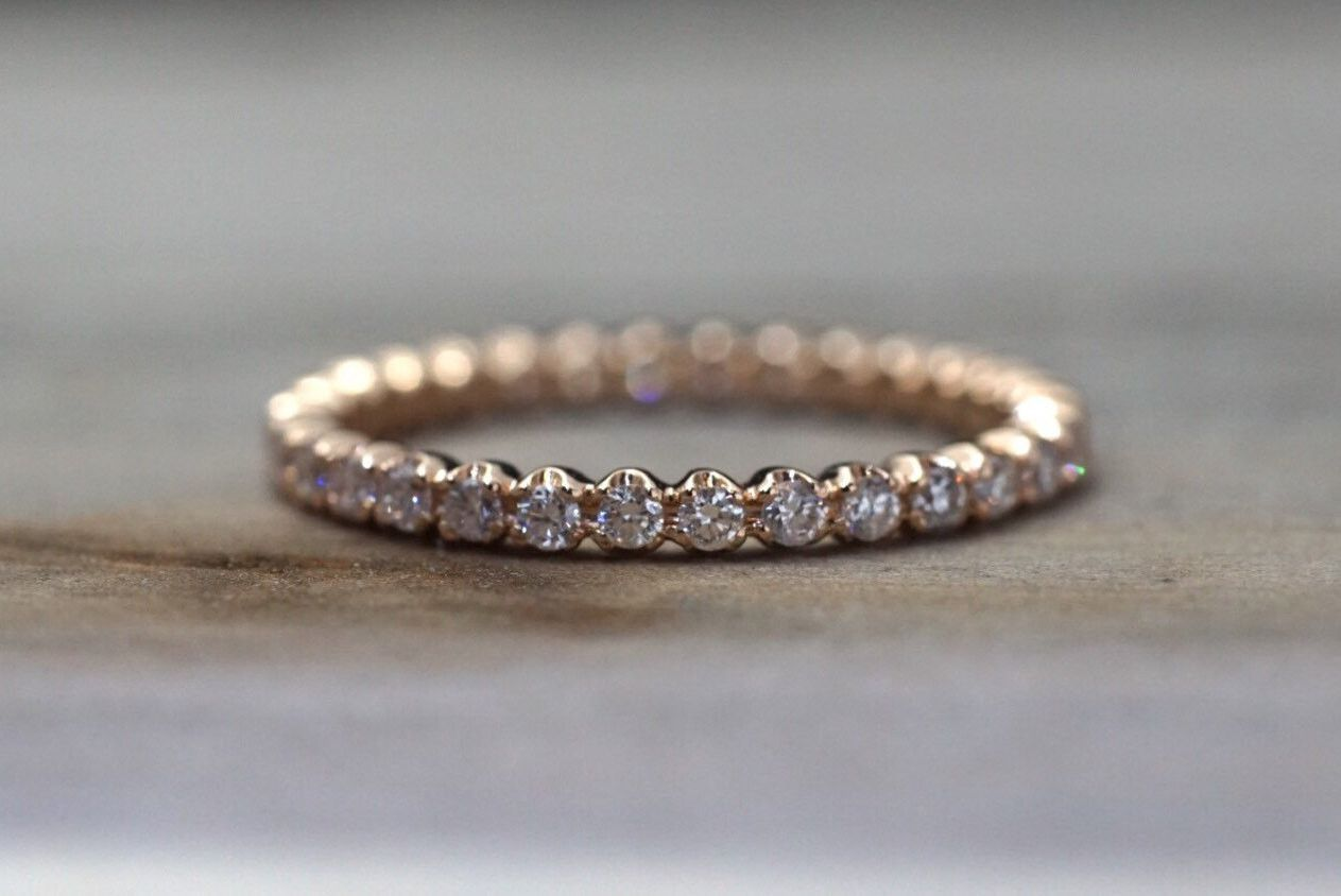 14k Rose Gold Eternity Diamond Vintage Milgrain Classic Full Eternity Band Ring Engagement Wedding