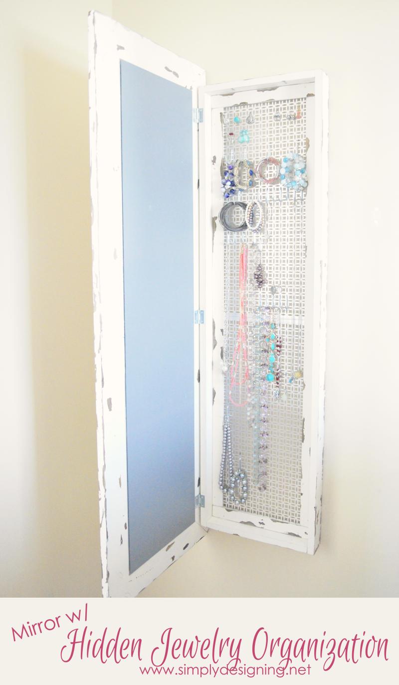 Mirror With Hidden Jewelry Storage DIY Space Saver Jewelry Organization