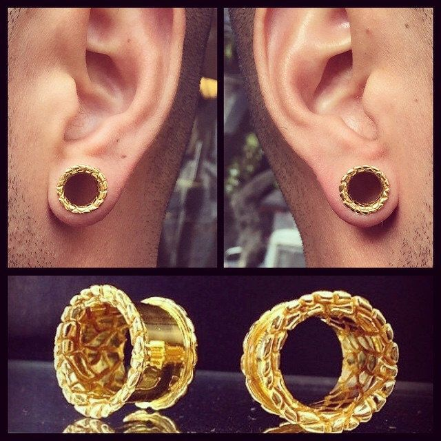 Gold Playa Ear Tunnels Plugs Gauges Flesh Scretched Lobes