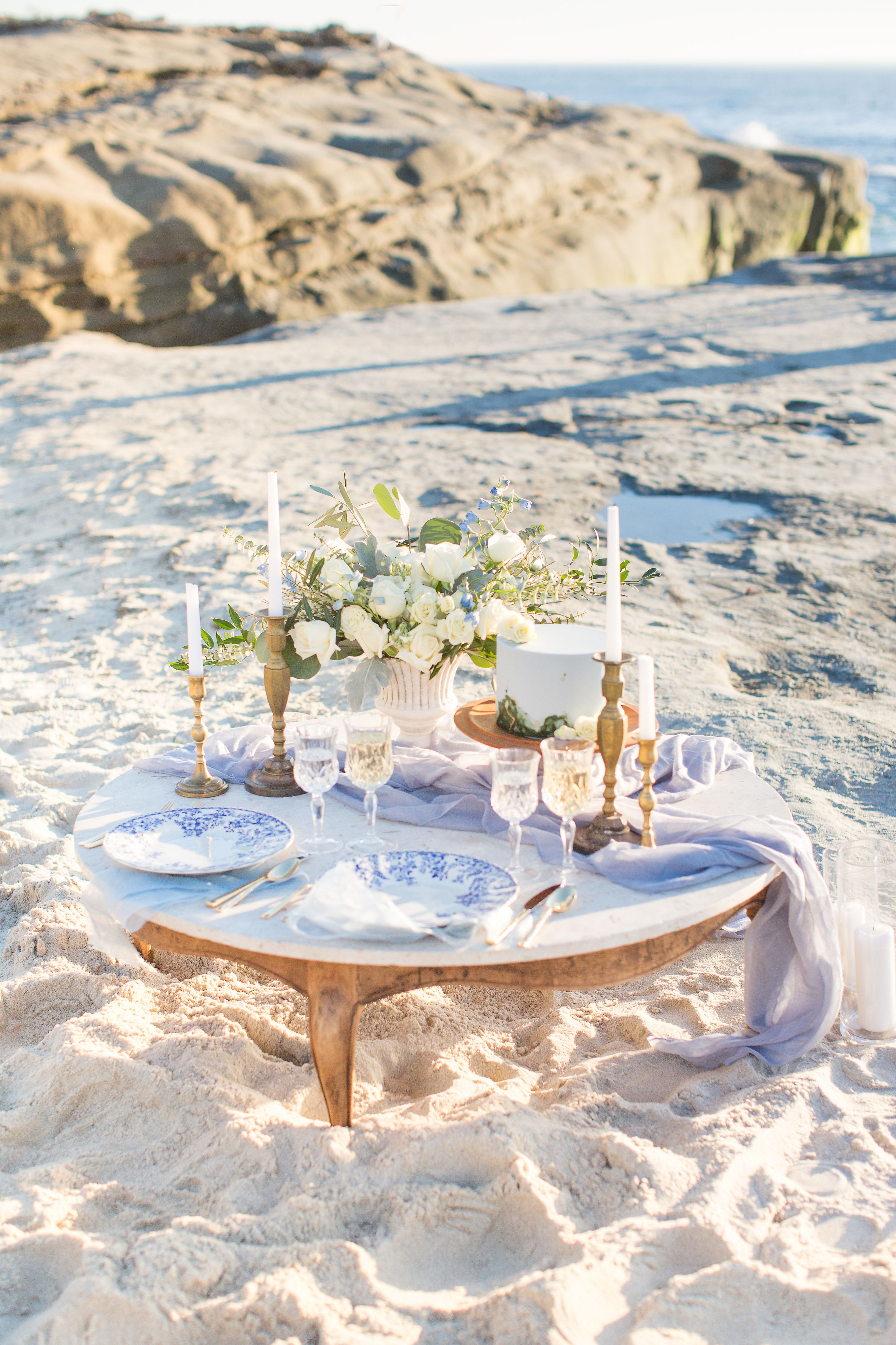 Most Romantic Picnic Sweetheart Table For A Beach Elopement