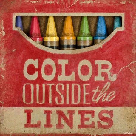 Inspirational Quote Art- Color Outside the Lines Wall Art copyright Aaron Christensen Multiple Sizes