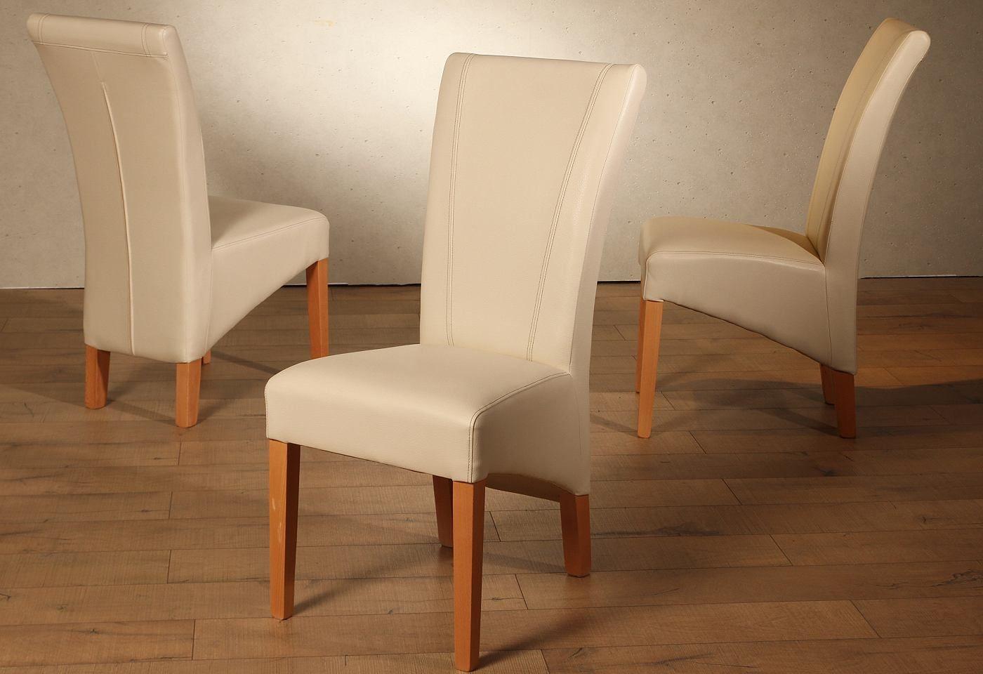 Dieser hochwertig und voluminös gepolsterte Stuhl lässt sich durch seine bestechende Optik sehr gut mit verschiedenen Einrichtungsstilen kombinieren. Die Beine sind aus FSC zertifiziertem massiven Holz und der Bezug aus pflegeleichtem Kunstleder.   Sie können aus drei Varianten wählen: Stuhlbeine Buche natur lackiert, Bezug cremefarben, 100% PES Stuhlbeine Buche natur lackiert, Bezug dunkelbrau...