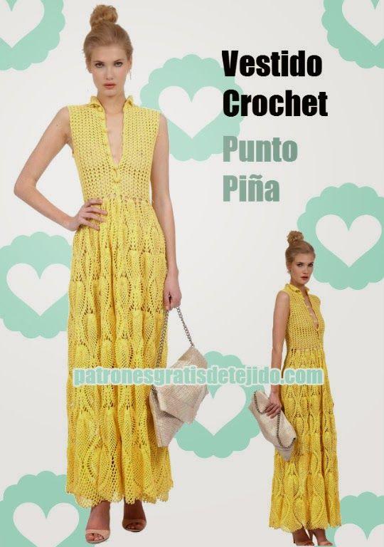 Patrones Vestido Crochet punto piña | 1A - crochet dresses ...