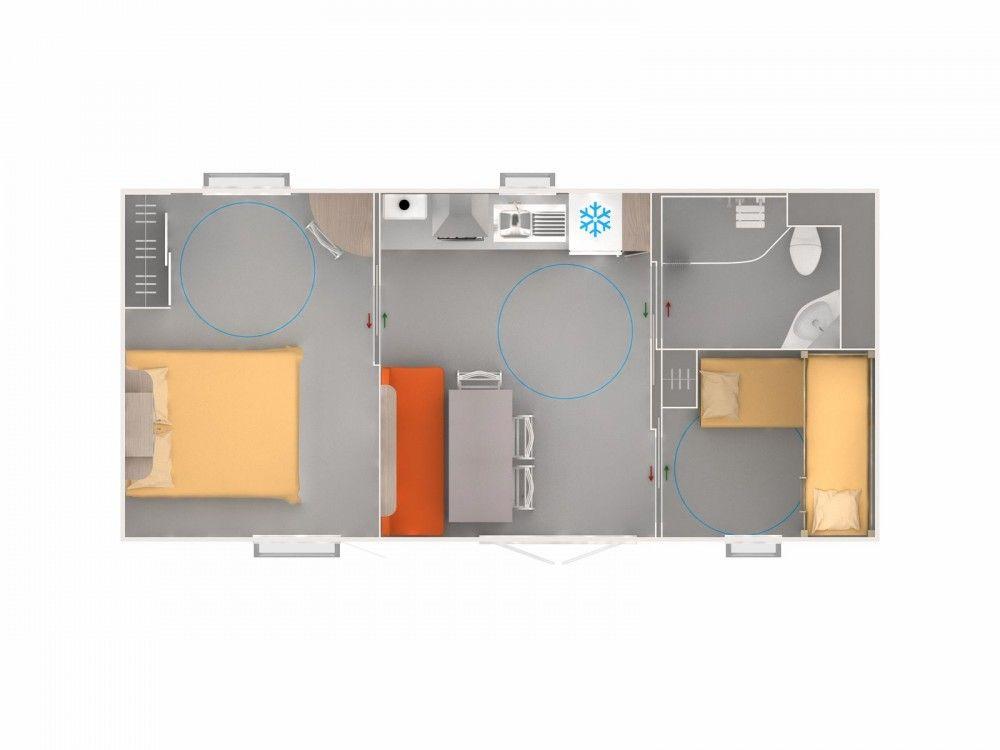 Mobil home Optiméo de la gamme Evolution, un mobil home créé en - plan maison avec tour carree