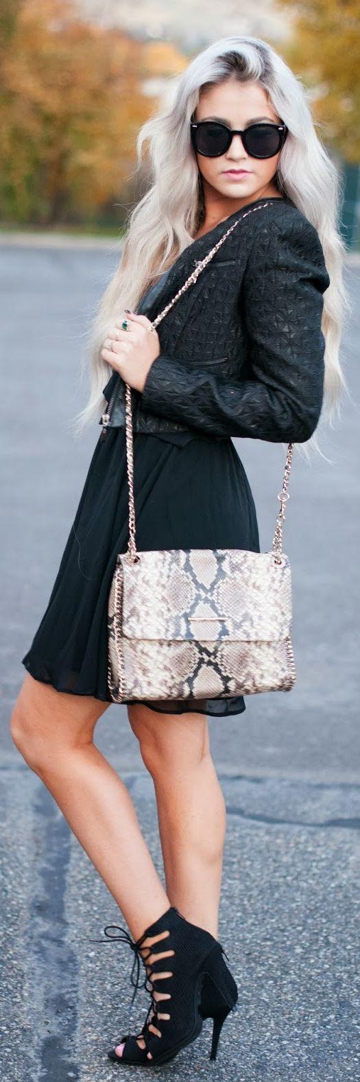 #Little #Black #Dress by Cara Loren.  Elaine Turner python bag.