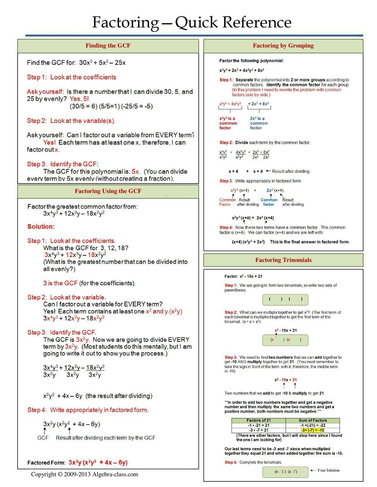 Arithmetic Sequence Worksheet Algebra 1 Algebra 1 Factoring Quick Reference Sheet With Images In 2020 Studying Math Education Math Teaching Algebra