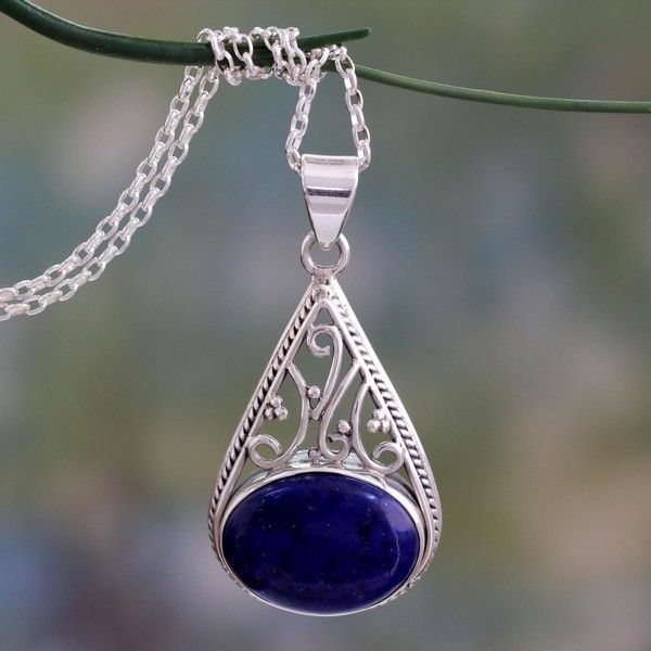 NOVICA Indian Jali Style Silver Pendant Necklace with Lapis Lazuli (€59) ❤ liked on Polyvore featuring jewelry, lapis lazuli, necklaces, pendant, silver necklace pendant, lapis lazuli jewelry, pendant necklace, blue jewelry and novica jewelry