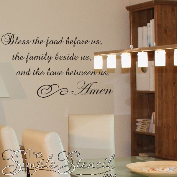 A Simple Prayer To Bless The Food Family And Love With This Removable Vinyl Wall