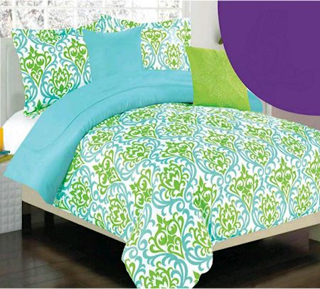 Turquoise Blue Lime Green Damask Scroll Girls Bedding Twin Or Full