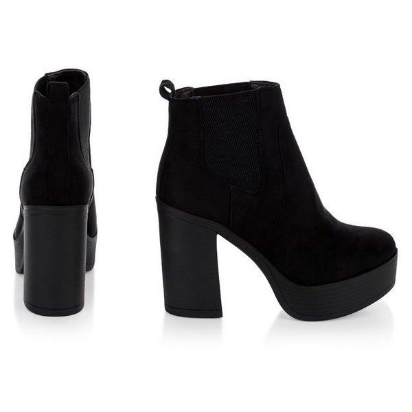 987ac1597533 Black Suedette Chunky Block Heel Chelsea Boots (4740 RSD) ❤ liked on  Polyvore featuring