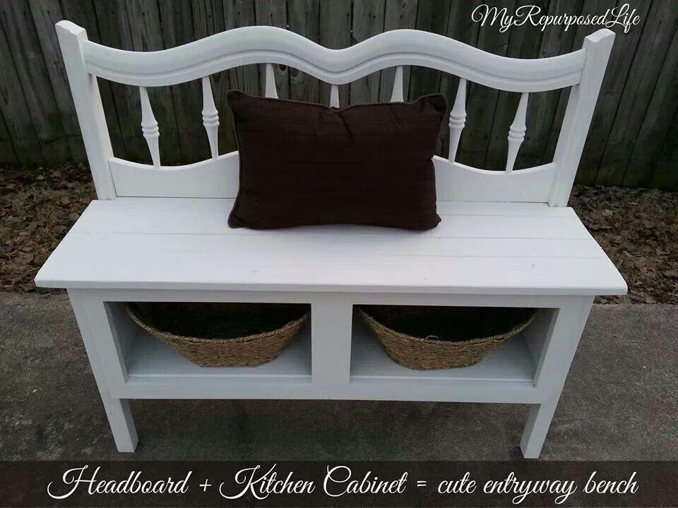 Headboard + kitchen cabinet = cute entryway bench