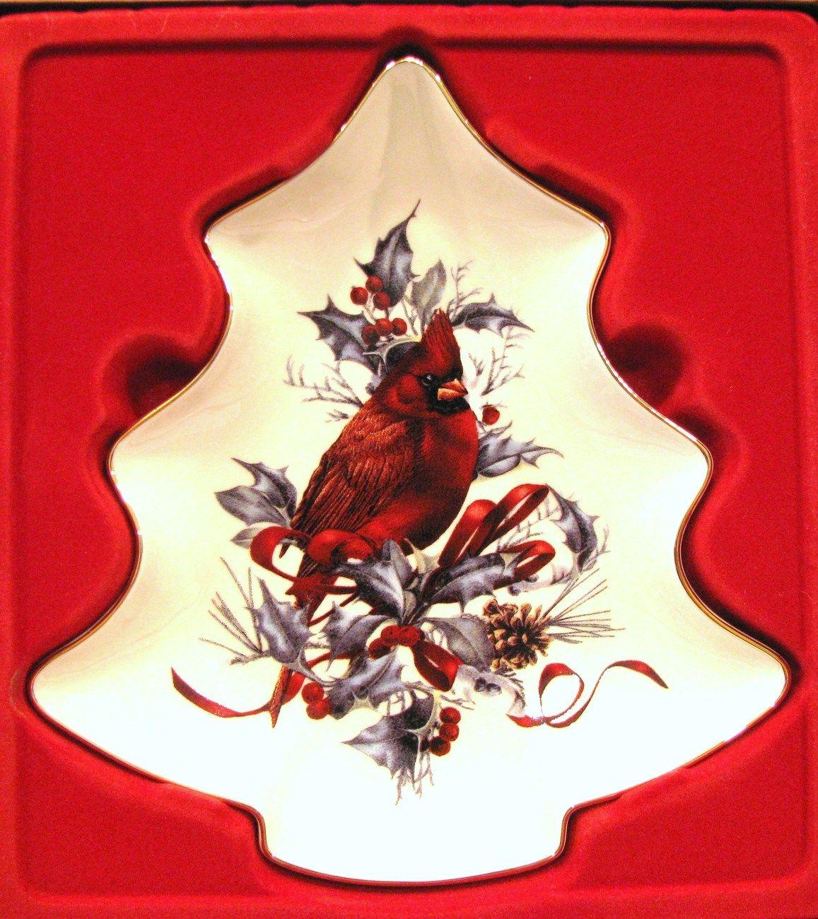 Lenox Winter Greetings Christmas Tree Candy Dish Cardinal ...