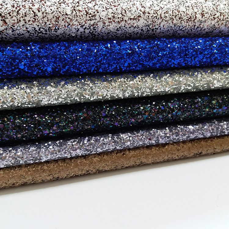 China supplier manufacturer shiny glitter leather fabric