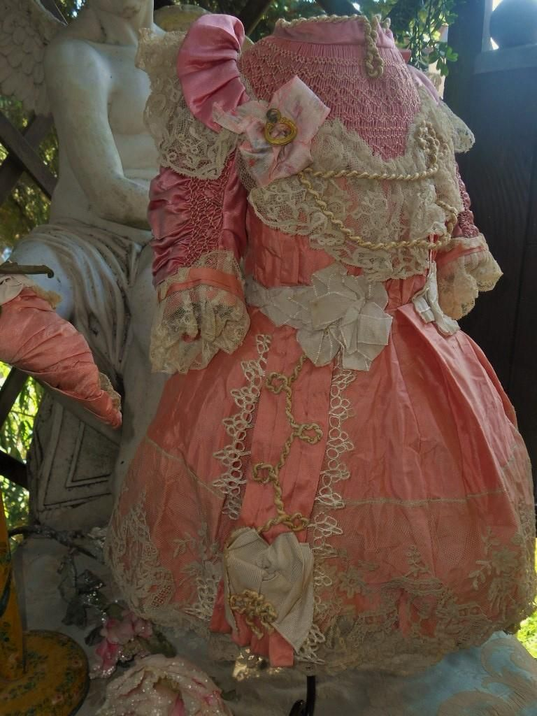 Beautiful French Pink Silk Costume with Straw Hat