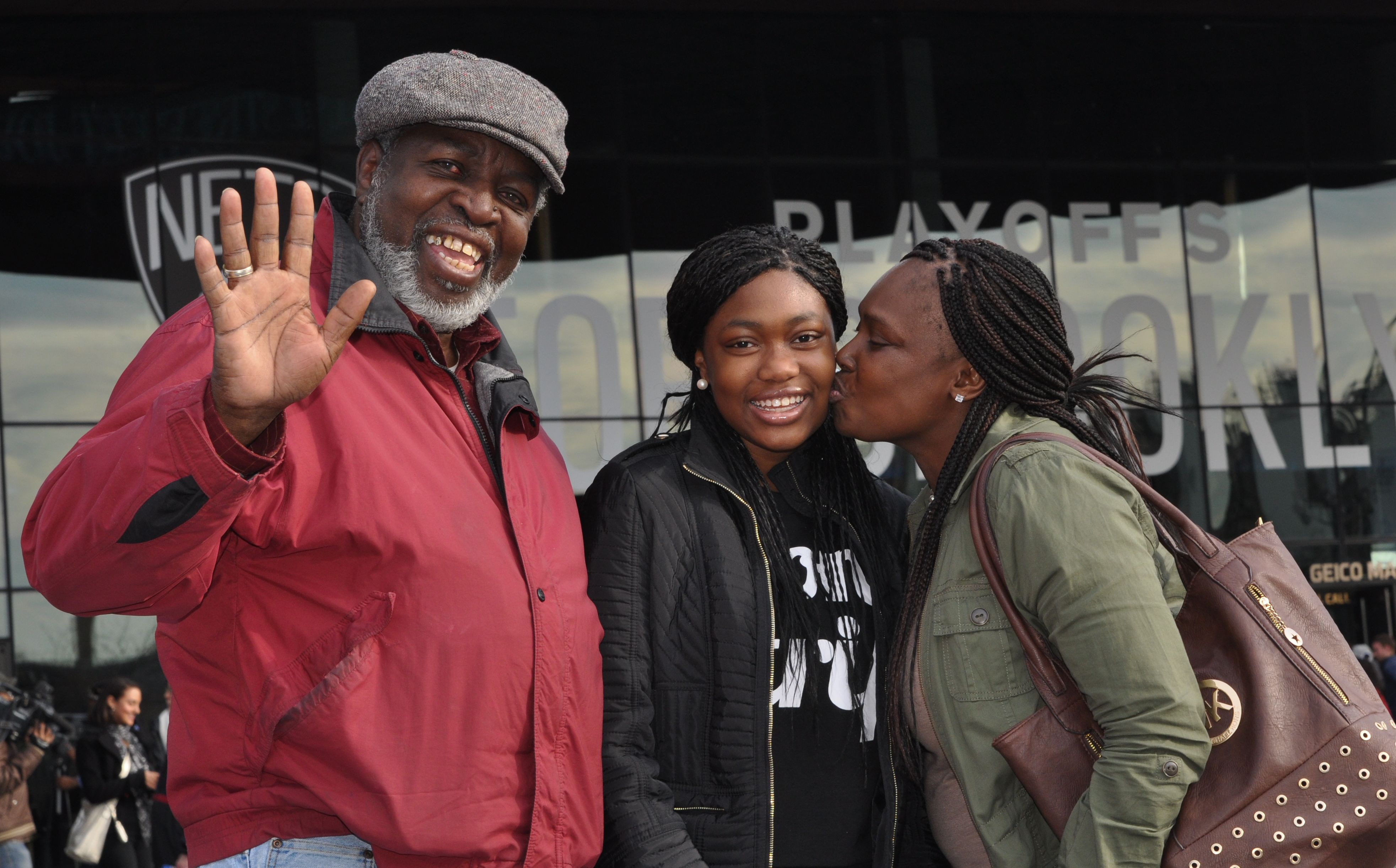 Jamay (palliative care pediatric patient), Grandad and mom enjoy game 3 of Nets vs Raptors playoff game