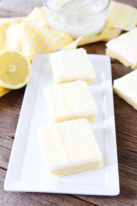 Lemon Sugar Cookie Bars Recipe on twopeasandtheirpod.com. Perfect bars for entertaining! Love the lemon cream cheese frosting! #lemon