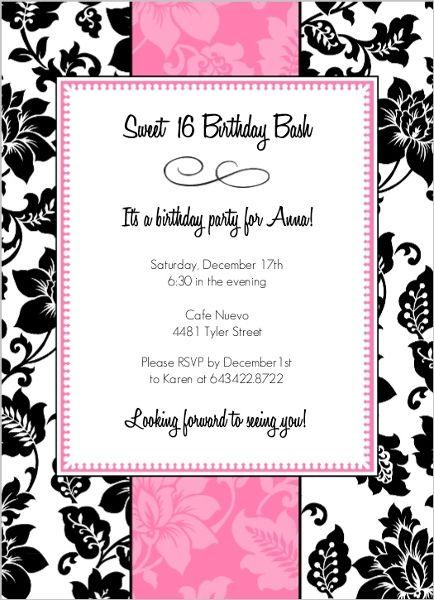 Black white and pink sweet 16 birthday party invitation by black white and pink sweet 16 birthday party invitation by purpletrail sweetsixteenideas stopboris Choice Image