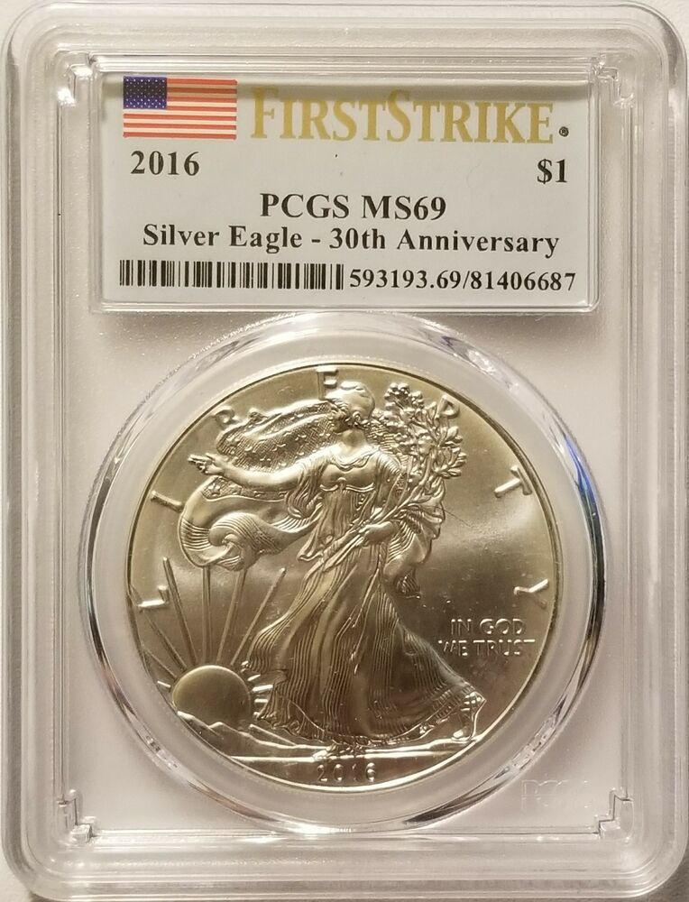 2016 American Silver Eagle 1 Oz 999 Fine Silver Bullion Pcgs Ms69 First Strike Silver Bullion American Silver Eagle Silver Eagles
