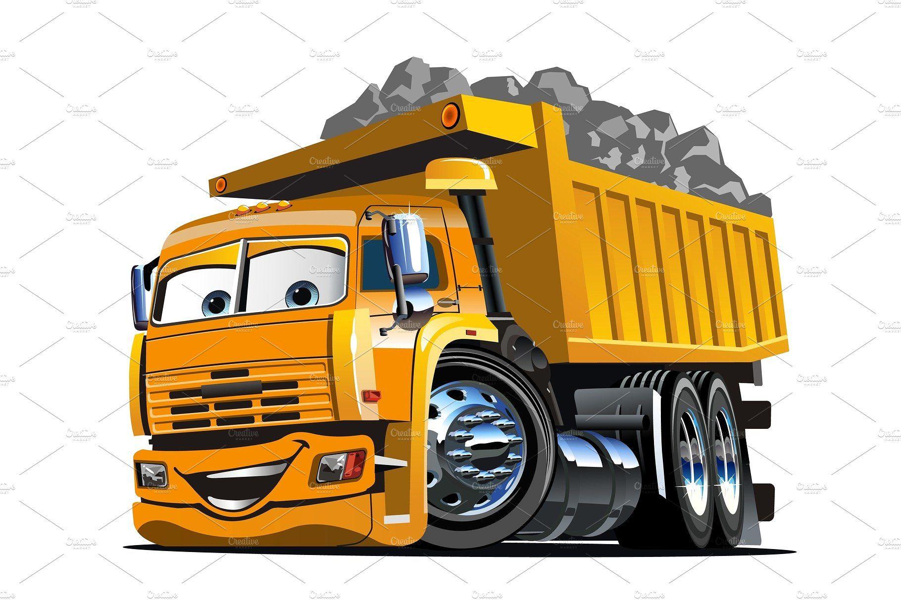 Vector Cartoon Dump Truck Dump Trucks Trucks Truck Detailing