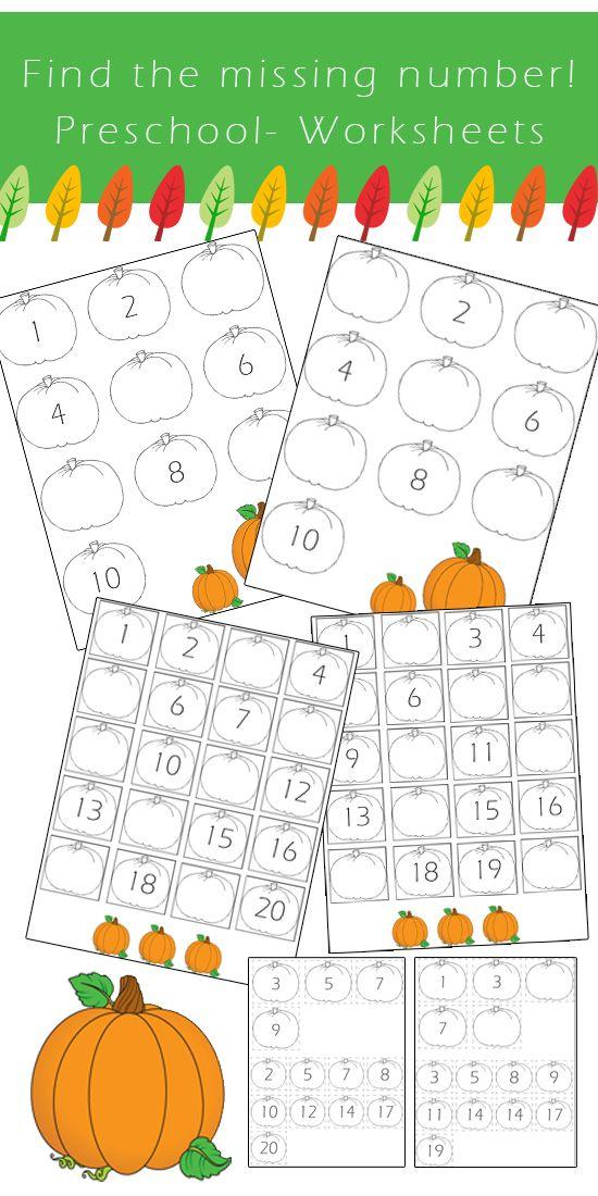 preschool number worksheets find the missing number fall edition preschool numbers. Black Bedroom Furniture Sets. Home Design Ideas