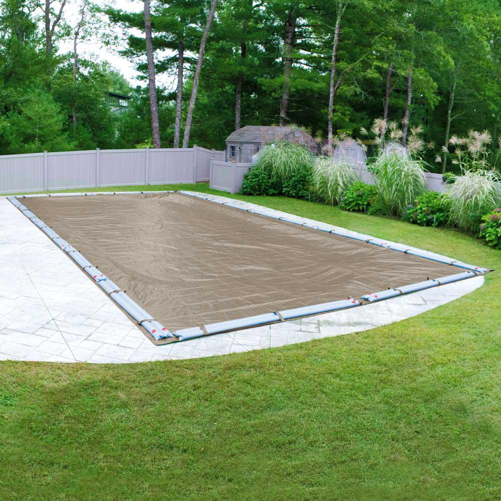 Pool Mate Sandstone 16 Ft X 24 Ft Rectangular Sand Solid In Ground Winter Pool Cover 571624r The Home Depot Winter Pool Covers Pool Cover In Ground Pools