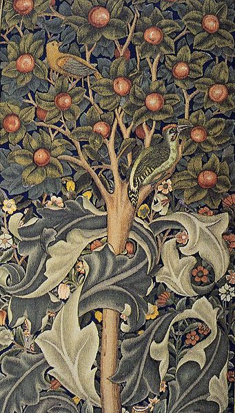 William Morris wallpaper; actually looks like a tapestry!