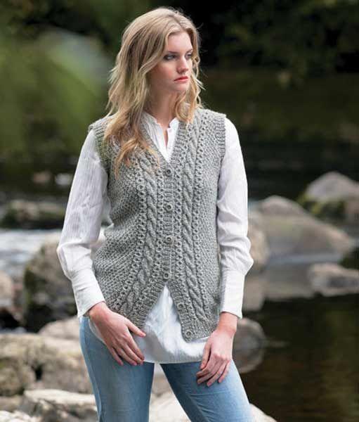 Aran knit waistcoat