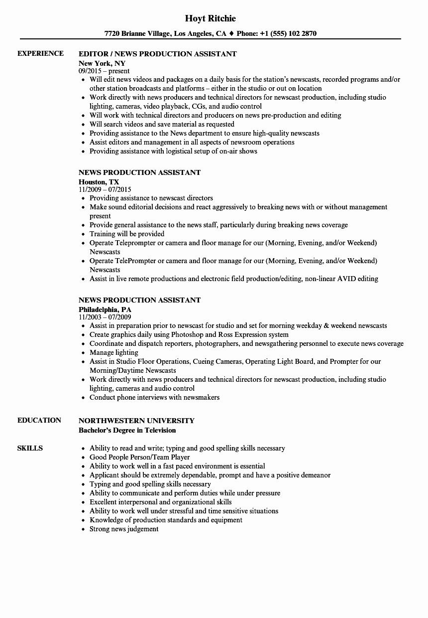 23 Production assistant Resume Examples in 2020 (With