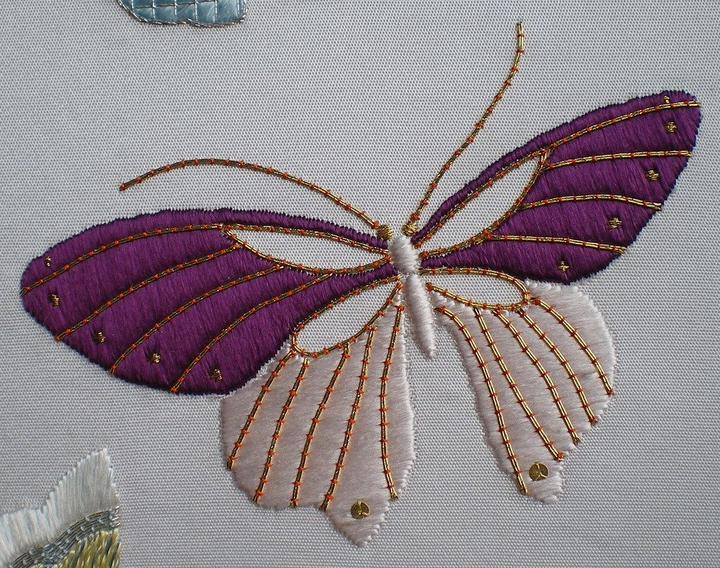 Design, © Jennifer Ashley Taylor  This butterfly represents me (I could not think of a name for it).  It is stitched with purple silk as well as the pale pink used on Pink Lady and the gold metallics used on Shibori Samurai