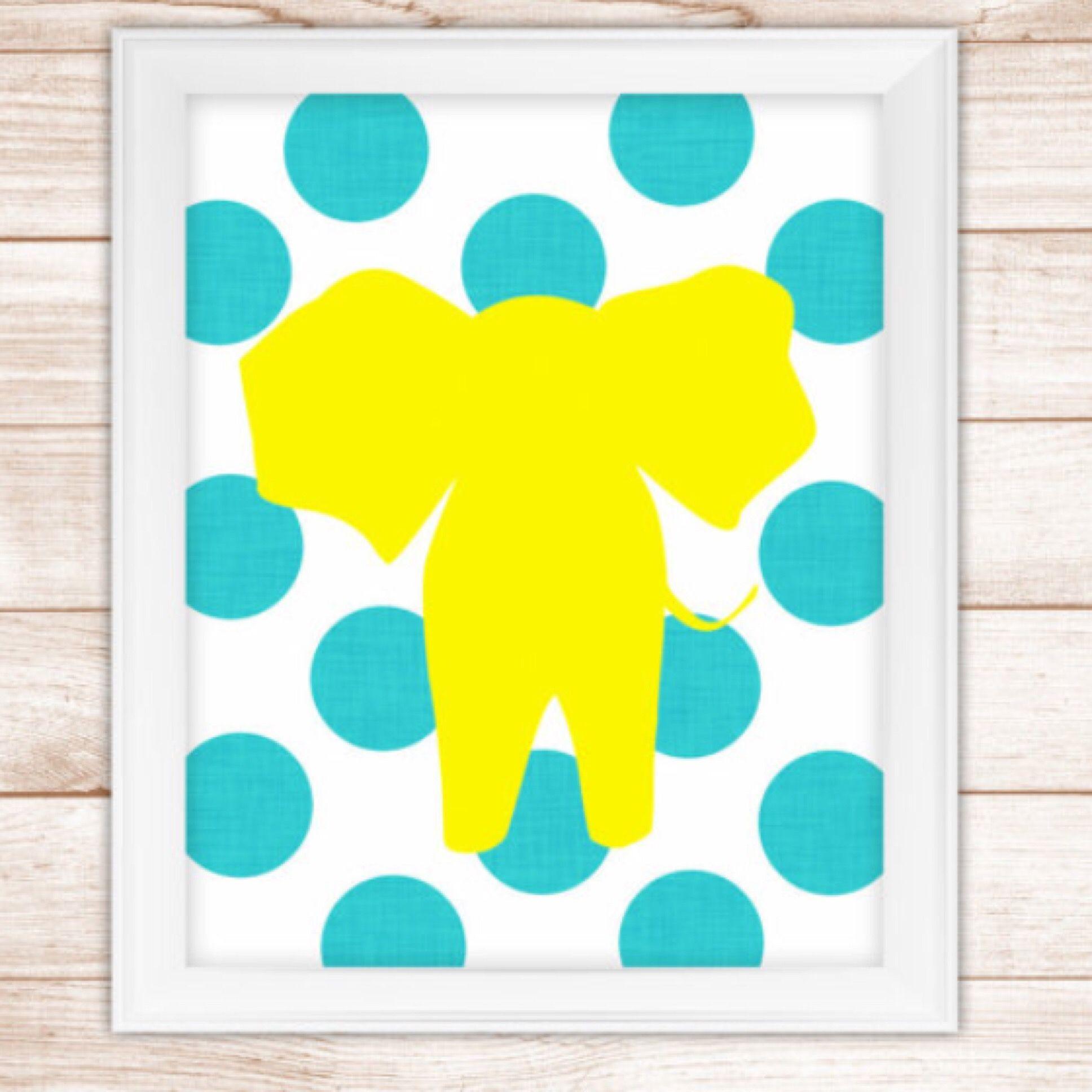 Super cute 8x10 aqua and yellow elephant silhouette printable wall ...