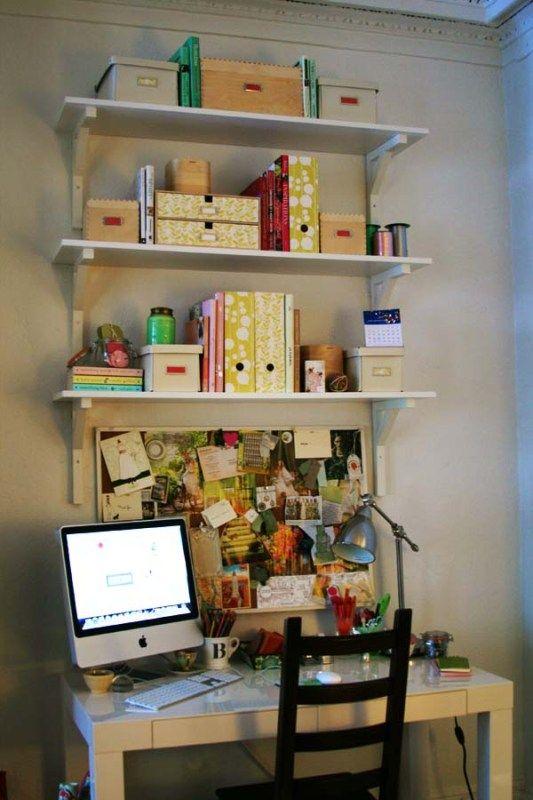 Shelves Above Desk Office Nook Craft Room Ideas