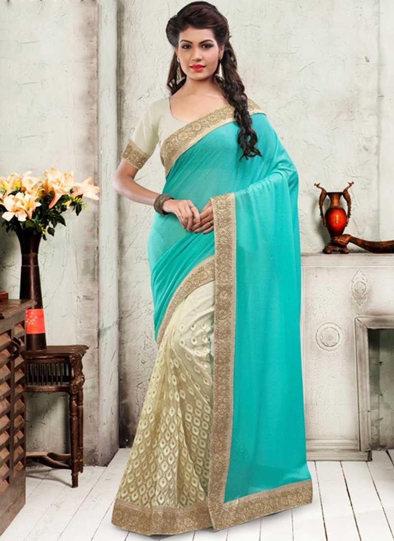 882b9a7f2c Sky Blue Off White Embroidery Resham Work Glitter Net Half Designer Sarees. Half N Half Sarees Delhi.