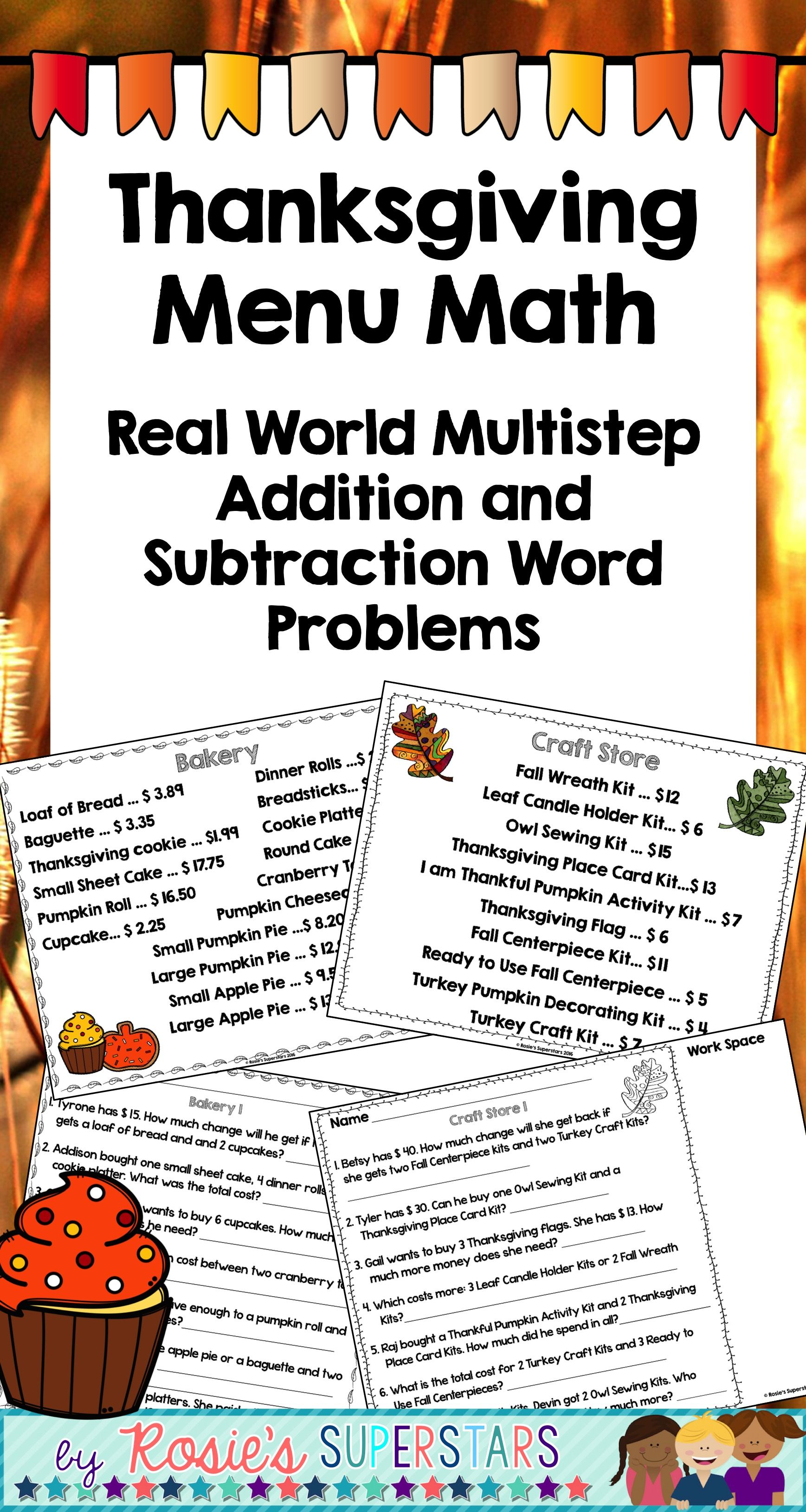 Real World Math Use These Differentiated Menus For Students To Practice Real World Math Skills There Subtraction Word Problems Word Problems Math Worksheets