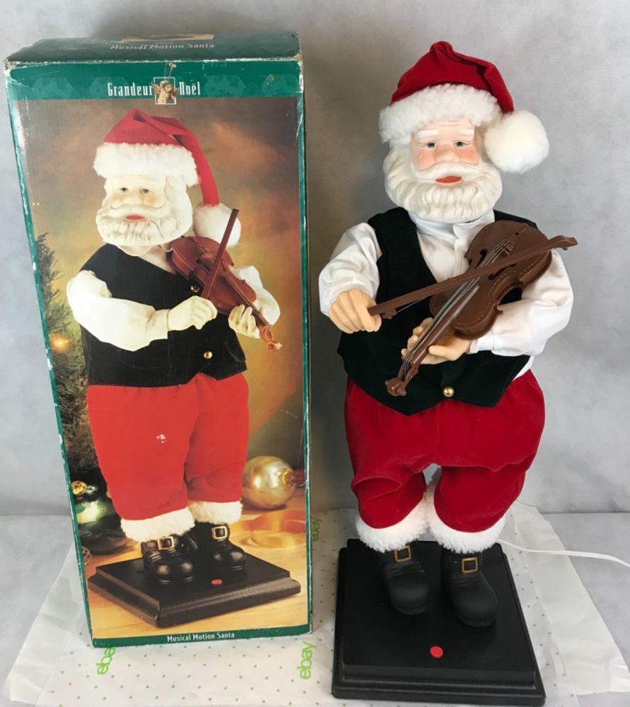 Grandeur Noel Musical Motion Santa Playing Violin Animated